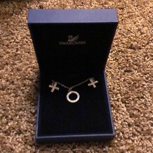 NWOT Swarovski XO necklace in silver with crystals
